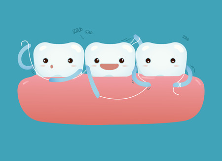 Teeth with dental floss for healthcare