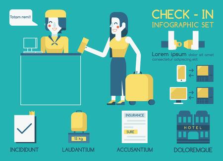 check in: Check in Info graphic Illustration