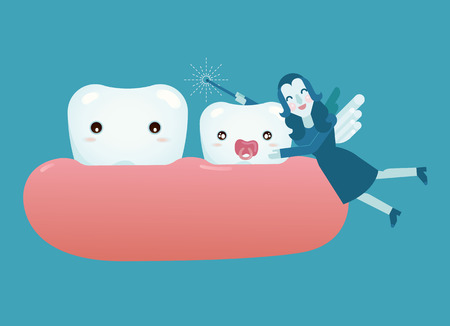 baby tooth: Baby tooth and fairy girl
