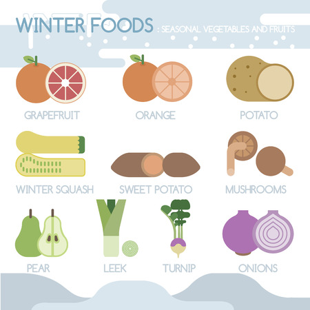 Winter foods seasonal vegetables and fruits Illustration