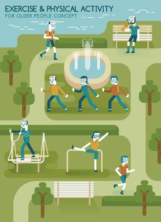 personas mayores: El ejercicio y la actividad física para personas mayores en el parque Vectores