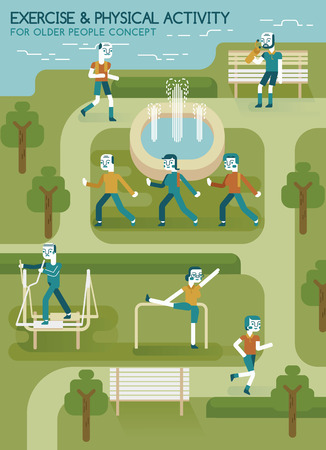 physical exercise: Exercise and physical activity for older people in the park Illustration