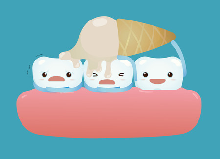 Tooth so sensitive with ice cream concept Vector