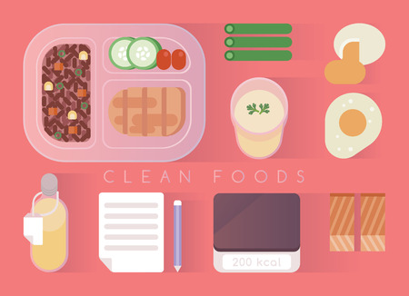 beans and rice: Clean foods design vector pink set