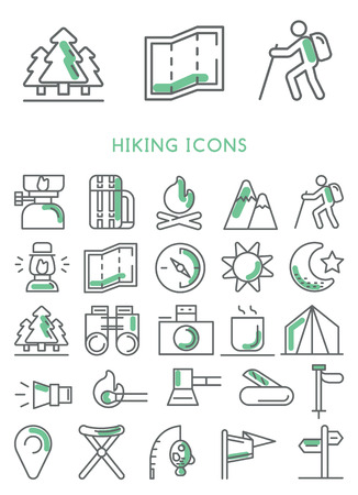 walking trail: Hiking icons set vector