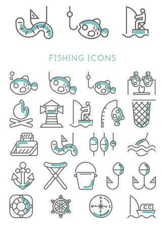 Fishing Icons set vector design Imagens - 41981283
