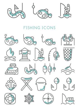 Fishing Icons set vector design