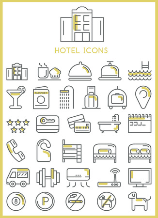 domed tray: Hotel icons set vector