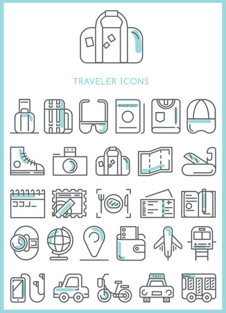 plate camera: Traveler icons set vector Illustration