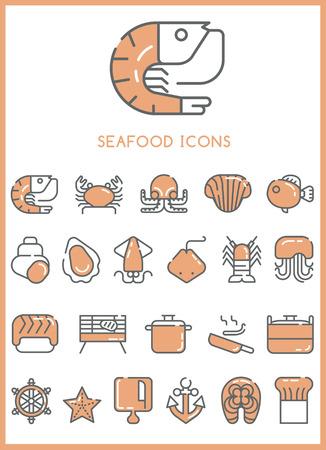 Seafood Icons set vector Illusztráció