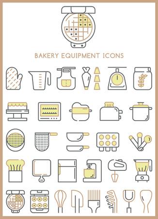 gingerbread cake: Bakery equipment icons set vector Illustration