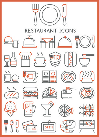 coffee cup vector: Restaurant icons set