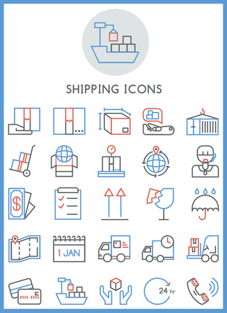 Shipping business icons set vector