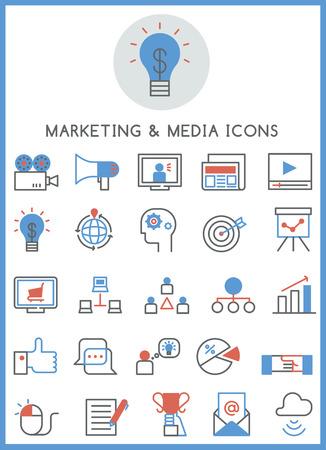 keywords link: Marketing  media icons set vector Illustration