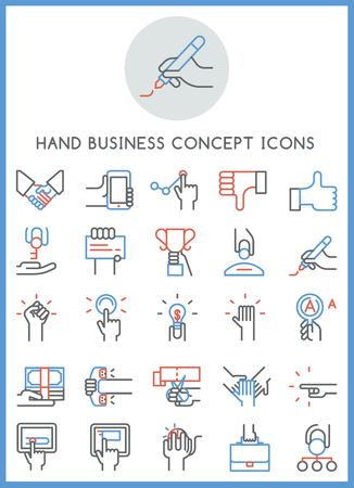 Hand business concept icons set design vector Stock Illustratie