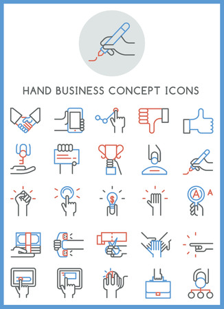 Hand business concept icons set design vector Illustration