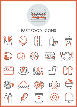 canned meat: Fast food icons set food of design Illustration