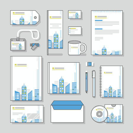 corporate building: building corporate identity template Stationery design set and Business stationery