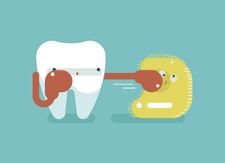 placa bacteriana: Boxeo por diente de protección, el concepto dental