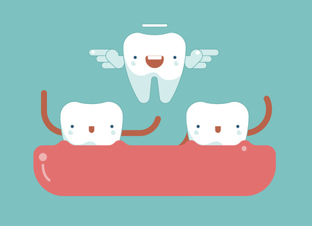 six year old: Tooth wings for milk tooth ,dental concept Illustration