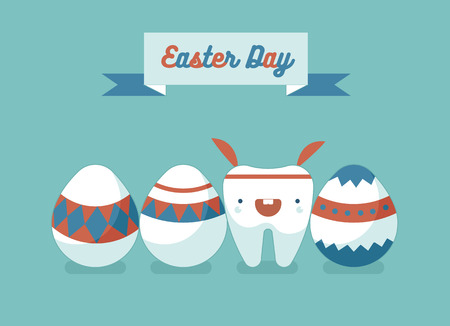cartoon easter: Bunny tooth and eggs of Easter day ,dental Easter Illustration