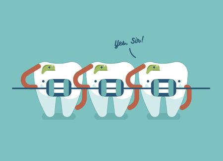 Los apoyos dientes de cuidado de la salud dental, Soldado del concepto dental Ilustración de vector
