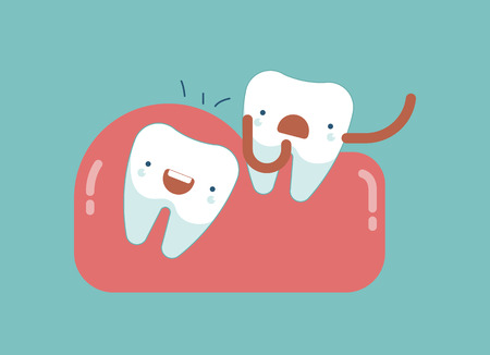 impacted: Tooth is pushing ,Dental concept