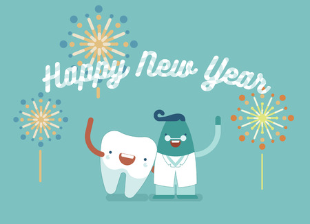 new medicine: Happy New year,dental concept