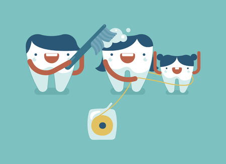 father and son: Daddy tooth is bushing Mommy and she is cleaning by dental floss,family dental concept