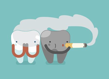 no teeth smile: Black tooth is smoking ,dental concept