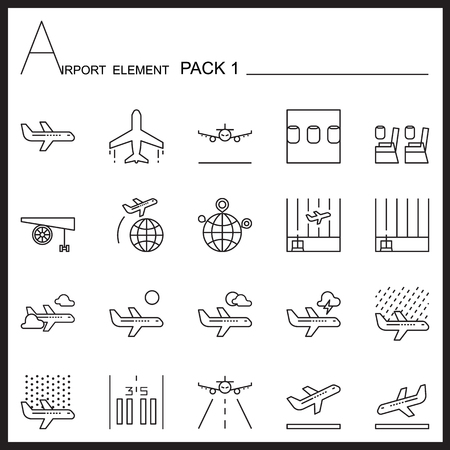 transportaion: Airport Element Line Icon Set.Pack 1.Mono pack.