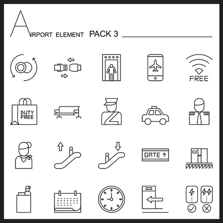 duty belt: Airport Element Line Icon Set.Pack 3.Mono pack. Illustration
