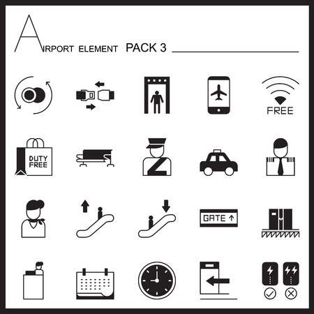 duty belt: Airport Element Graph Icon Set.Pack 3.Mono pack.