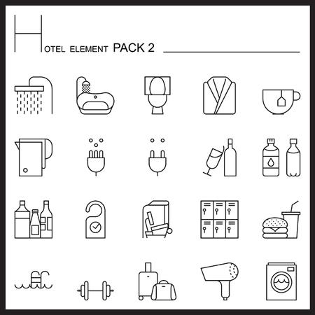 flush toilet: Airport Element Line Icon Set 2.Mono pack. Pictogram design.