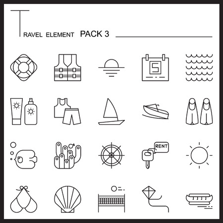 thin shell: Travel Element Line Icon Set 3.Beach and Sea thin icons.Mono pack. Pictogram design