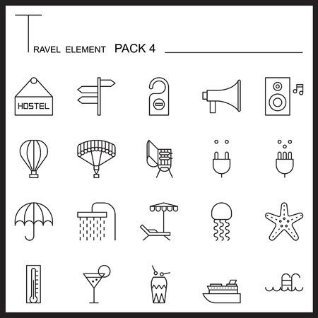 umbella: Travel Element Line Icon Set 4.Beach and Sea thin icons.Mono pack. Pictogram design.