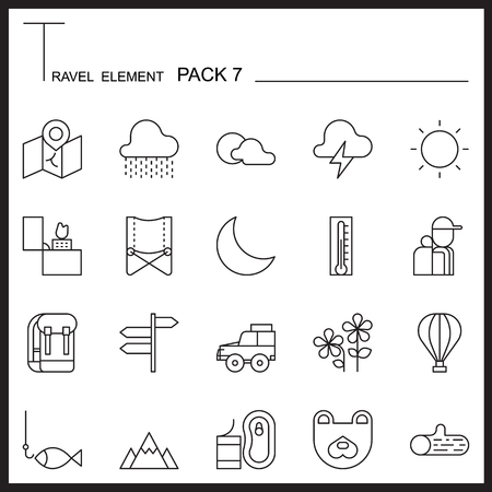 travel icon: Travel Element Line Icon Set 7.Camping thin icons.Mono pack. Pictogram design. Illustration