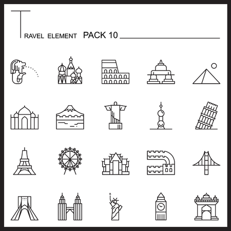 travel icon: Travel Element Line Icon Set 10.Landmark thin icons.Mono pack. Pictogram design.