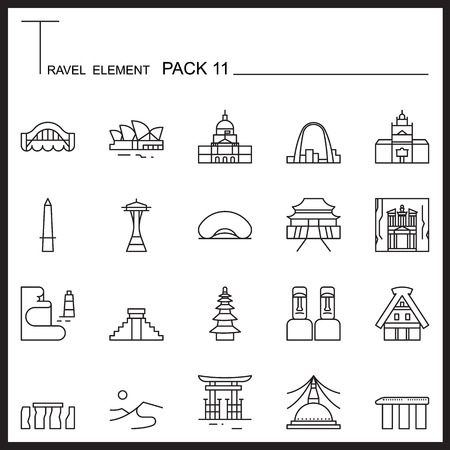 Travel Element Line Icon Set 11.Landmark thin icons.Mono pack. Pictogram design. Illustration