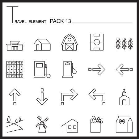 travel icon: Travel Element Line Icon Set 13.Country thin icons.Mono pack. Pictogram design.