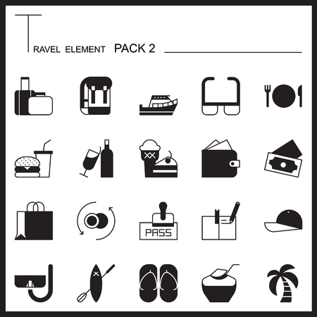 restaurant icons: Travel Element Graph Icon Set 2.Beach and Sea thin icons.Mono pack. Pictogram design.