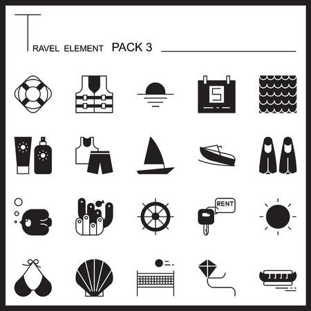 sun block: Travel Element Graph Icon Set 3.Beach and Sea thin icons.Mono pack.Pictogram design