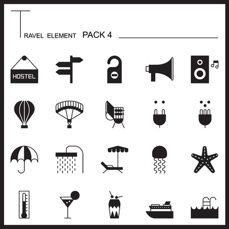 umbella: Travel Element Graph Icon Set 4.Beach and Sea thin icons.Mono pack. Pictogram design.