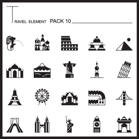 Travel Element Graph Icon Set 10.Landmark thin icons.Mono pack.Pictogram design.
