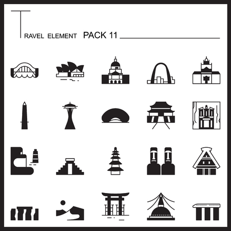 Travel Element Graph Icon Set 11.Landmark thin icons.Mono pack.Pictogram design.