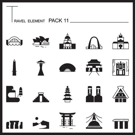 petra: Travel Element Graph Icon Set 11.Landmark thin icons.Mono pack.Pictogram design.