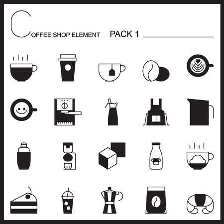 tea cup: Coffee shop line icons.Mono icons pack 1.Pictogram illustration. Illustration
