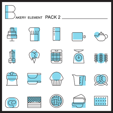 raw material: Bakery line icons set.Color icons pack 2.Pictagram outline.