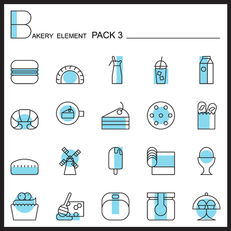 raw egg: Bakery line icons set.Color icons pack 3.Pictagram outline. Illustration