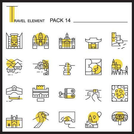 Travel Element Line Icon Set 14.Landmark thin icons.Color pack.Graphic vector logo set.